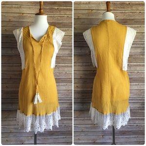 Mustard Yellow Mini Boho Style Umgee Dress
